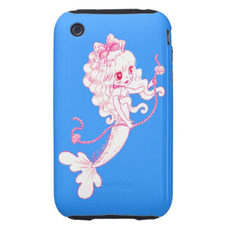 Pink Mermaid Holding String Of Pearls On Blue Tough iPhone 3 Cases