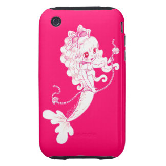 Pink Mermaid Holding String Of Pearls On Pink iPhone 3 Tough Cases
