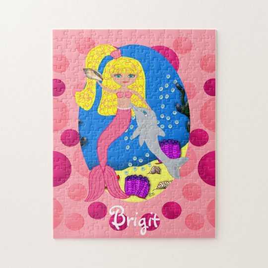 Pink Mermaid in the Ocean with a Dolphin Jigsaw Puzzle