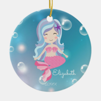 Pink Mermaid Personalized Christmas Ornament