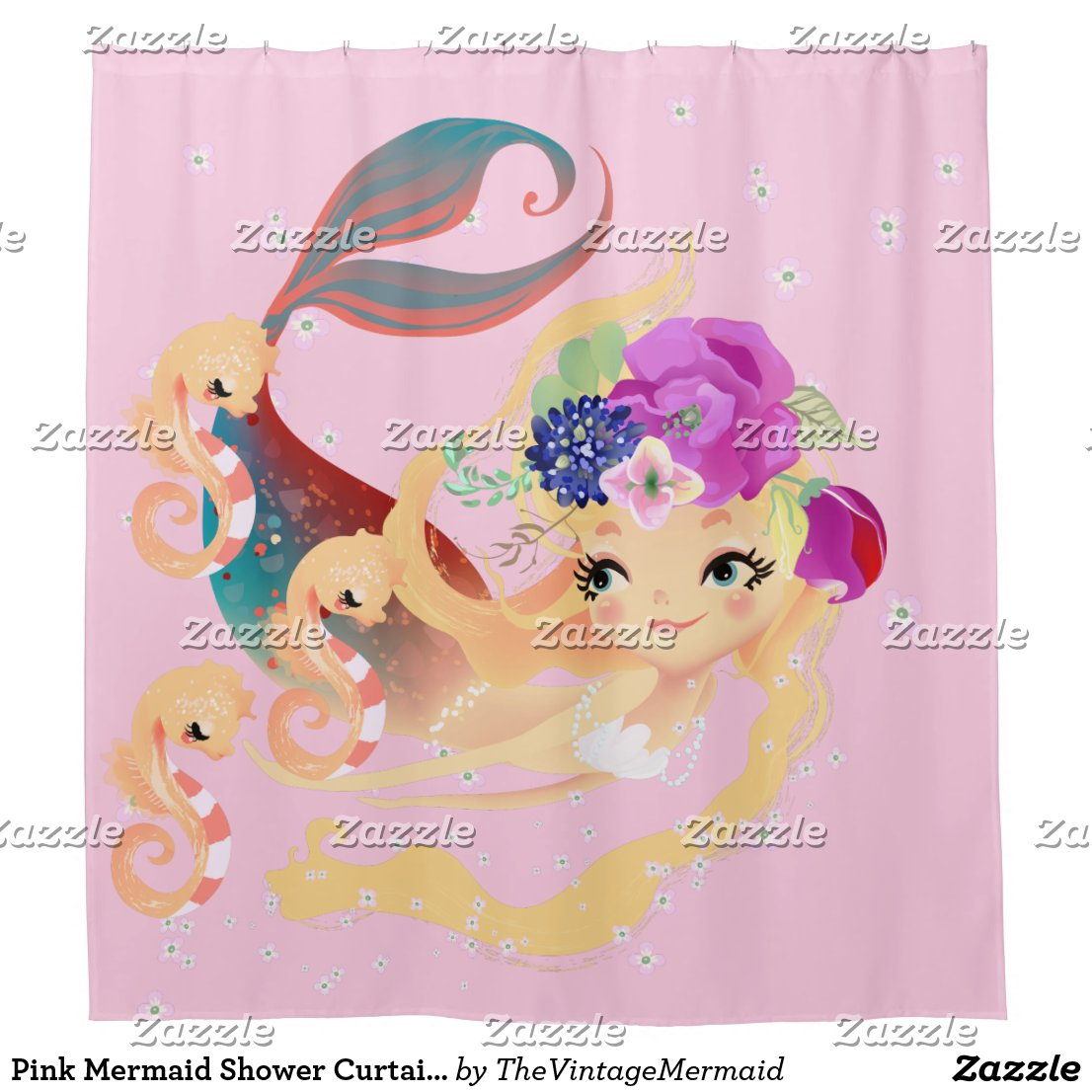 Pink Mermaid Shower Curtain Baby Seahorses
