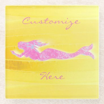 Beach Themed pink mermaid swimming glass coaster