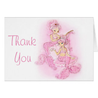 Pink Mermaids Bridal Party Thank You Card