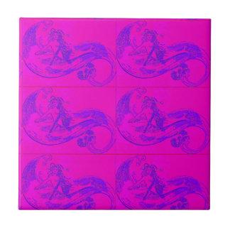 pink mermaids tile