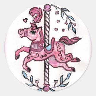 Pink merry-go-round horsie classic round sticker