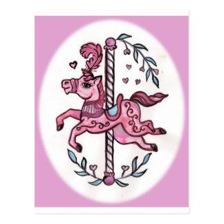 Pink merry-go-round horsie postcard