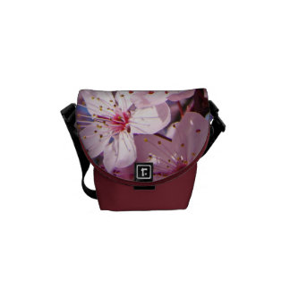 Pink Messenger Bags Spring Blossoms Flowers