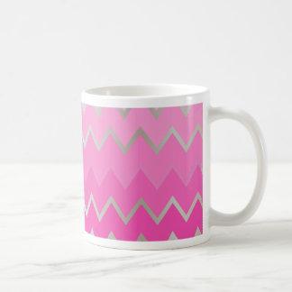 Pink Metallic Chevron Classic White Coffee Mug