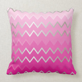 Pink Metallic Chevron Pillows