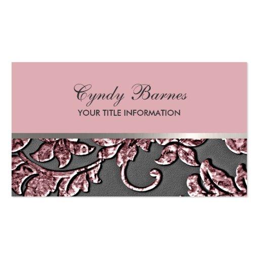 Pink Metallic Damask Business Card