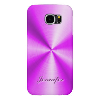 Pink Metallic Design Faux Stainless Steel Look Samsung Galaxy S6 Case