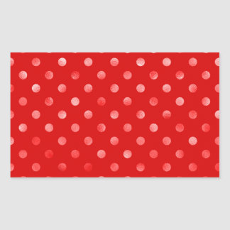 Pink Metallic Faux Foil Polka Dot Red Background Rectangular Sticker