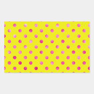 Pink Metallic Faux Foil Polka Dots Background Rectangular Sticker