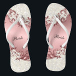 "Pink Metallic Floral & Confetti Glitter | Wedding Flip Flops<br><div class=""desc"">Bridal Party Flip Flop Shoes ready for you to personalize. ⭐This Product is 100% Customizable. Graphics and / or text can be added, deleted, moved, resized, changed around, rotated, etc... 99% of my designs in my store are done in layers. This makes it easy for you to resize and move...</div>"