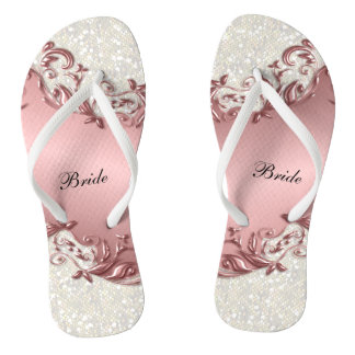 Pink Metallic Floral & Confetti Glitter | Wedding Flip Flops