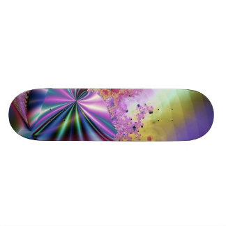 Pink Metallic Fractal Magic Skateboard