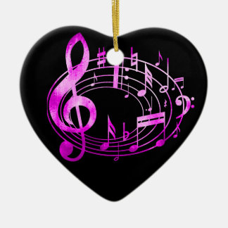 Pink Metallic style musical notes in oval shape Ceramic Ornament