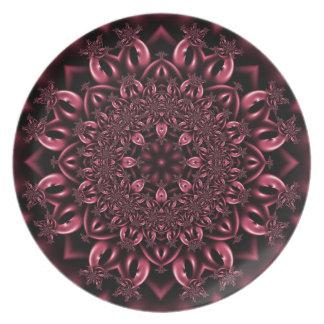 Pink metalwork melamine plate