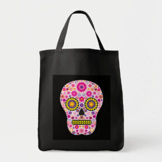 Pink Mexican Sugar Skull Grocery Tote Bag