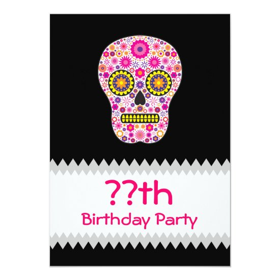 Pink Mexican Sugar Skull Birthday Card