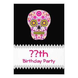 Pink Mexican Sugar Skull Birthday Custom Invite