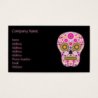 Pink Mexican Sugar Skull Business Card