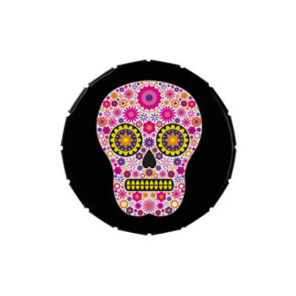 Pink Mexican Sugar Skull Jelly Belly Candy Tins