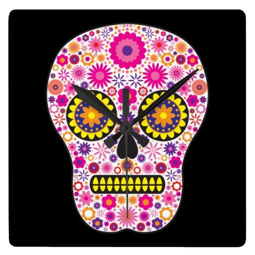 Pink Mexican Sugar Skull Square Wall Clock