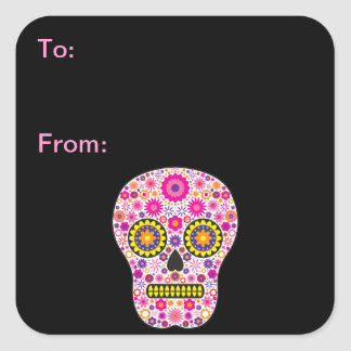 Pink Mexican Sugar Skull Gift Tags Square Sticker