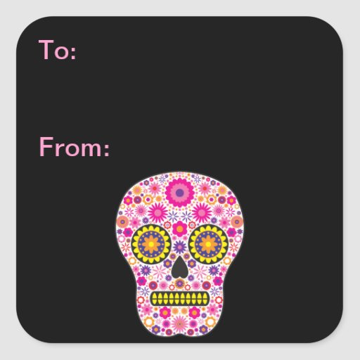 Pink Mexican Sugar Skull Gift Tags Square Stickers