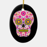 Pink Mexican Sugar Skull Double-Sided Oval Ceramic Christmas Ornament