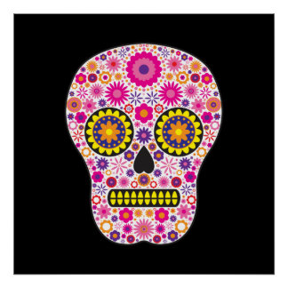 Pink Mexican Sugar Skull Posters