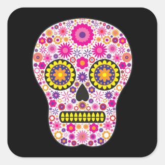 Pink Mexican Sugar Skull Square Sticker