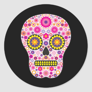 Pink Mexican Sugar Skull Classic Round Sticker