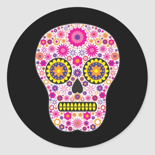 Pink Mexican Sugar Skull Stickers