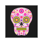 Pink Mexican Sugar Skull Stretched Canvas Print