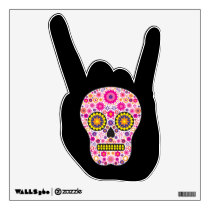 Pink Mexican Sugar Skull Wall Decal