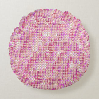 Pink Microdots Round Pillow