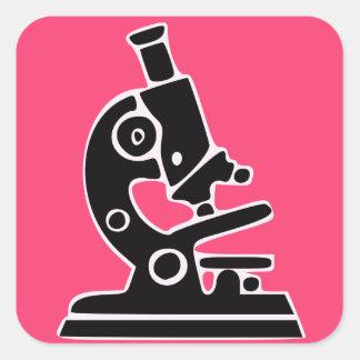 Pink Microscope Square Sticker
