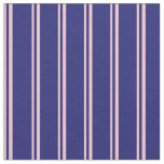 [ Thumbnail: Pink & Midnight Blue Colored Stripes Fabric ]