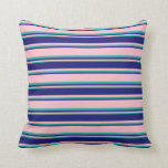 [ Thumbnail: Pink, Midnight Blue & Light Sea Green Colored Throw Pillow ]