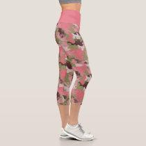 Pink Military Khaki Brown Green Camouflage Pattern Capri Leggings
