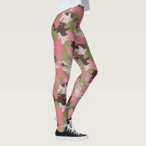 Pink Military Khaki Brown Green Camouflage Pattern Leggings