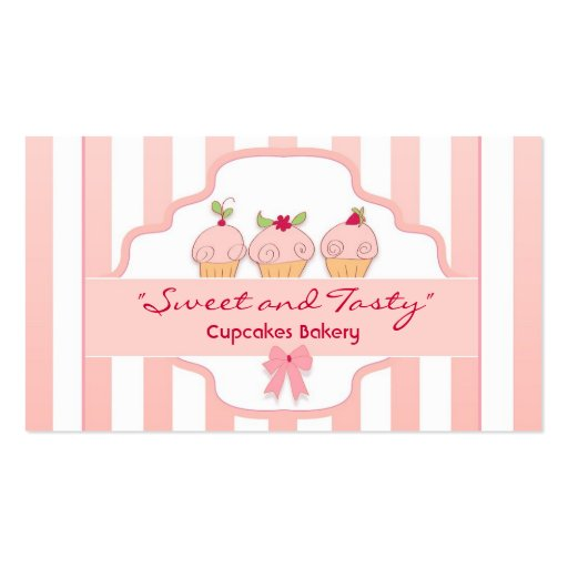 pink milky cupcake bakery business cards (front side)