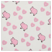 Pink Mini Pigs and Hearts Fabric