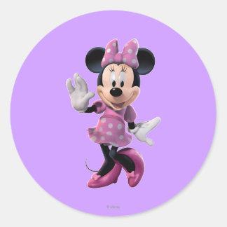 Pink Minnie   Cute Pose Classic Round Sticker