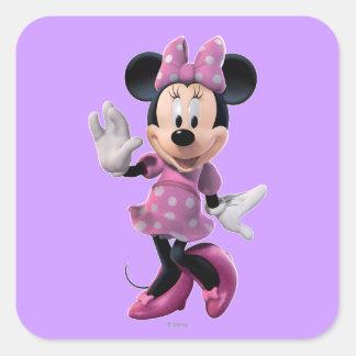 Pink Minnie   Cute Pose Square Sticker