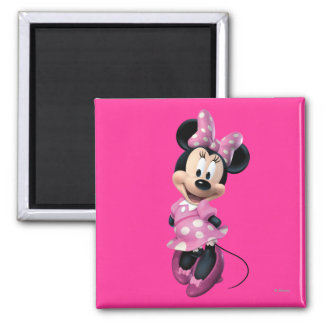 Pink Minnie | Hands Behind Back 2 Inch Square Magnet