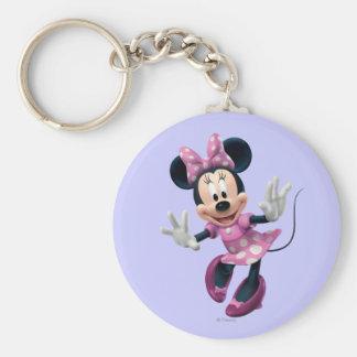 Pink Minnie | Hands Out Basic Round Button Keychain