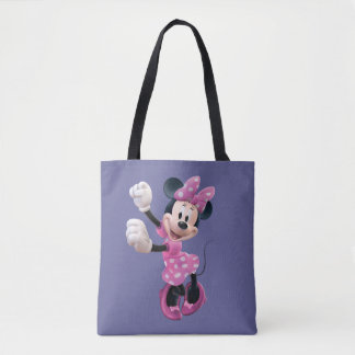 Pink Minnie   Hands Up and Dancing Tote Bag